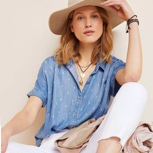 NWT Anthro Cloth & Stone Chambray Lace Button Down